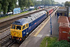 "12th Sep 07:  47843 'Vulcan' stands at Fleet heading Hertfordshire Railtours  'Bournmouth and the Waverley"" from Stevenage"