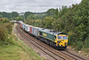 22nd Sep 07:  Carrying the 'Freightliner Eastleigh on Tour' headboard 66518 winds through Sherrington on the diverted Garston to Southampton