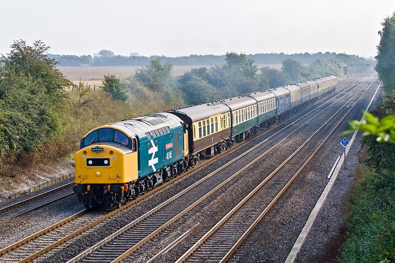 8th Sep 07:  Making a fine sight and sound 40145 'The East Lancashire Railway' passes Shottesbrooke in a very fortuitus patch of sun.  The 'Devonian' railtour was running from Banbury to Kingswear.