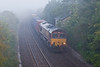 22nd Sep 07:  07.30 in the morning and the beautiful Wylye Valley between Westbury and Salisbury is covered in mist as 66003 brings the Washwood Heath to Southampton Intermodal through the long closed station at Heytesbuy.