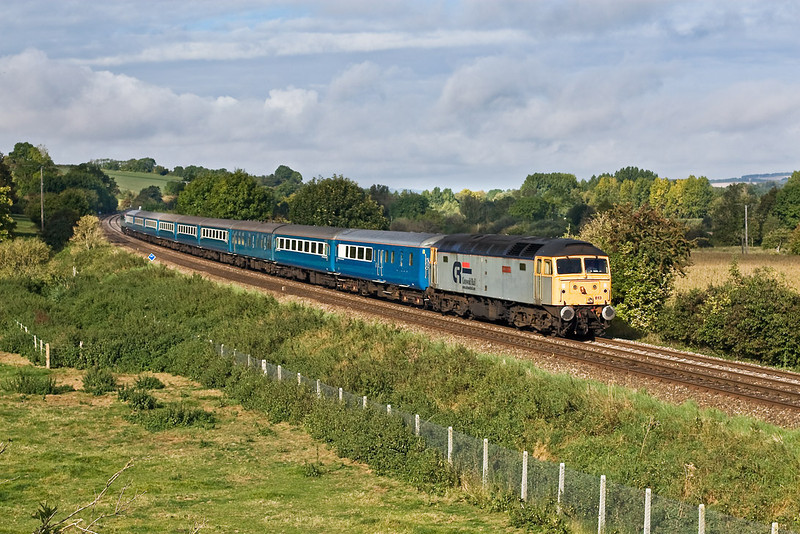 22nd Sep 07:  The HRT tour from Gloucester to Brighton used the Blue Pullman set. 47813 'John Peel' leads as it passes Little Langford