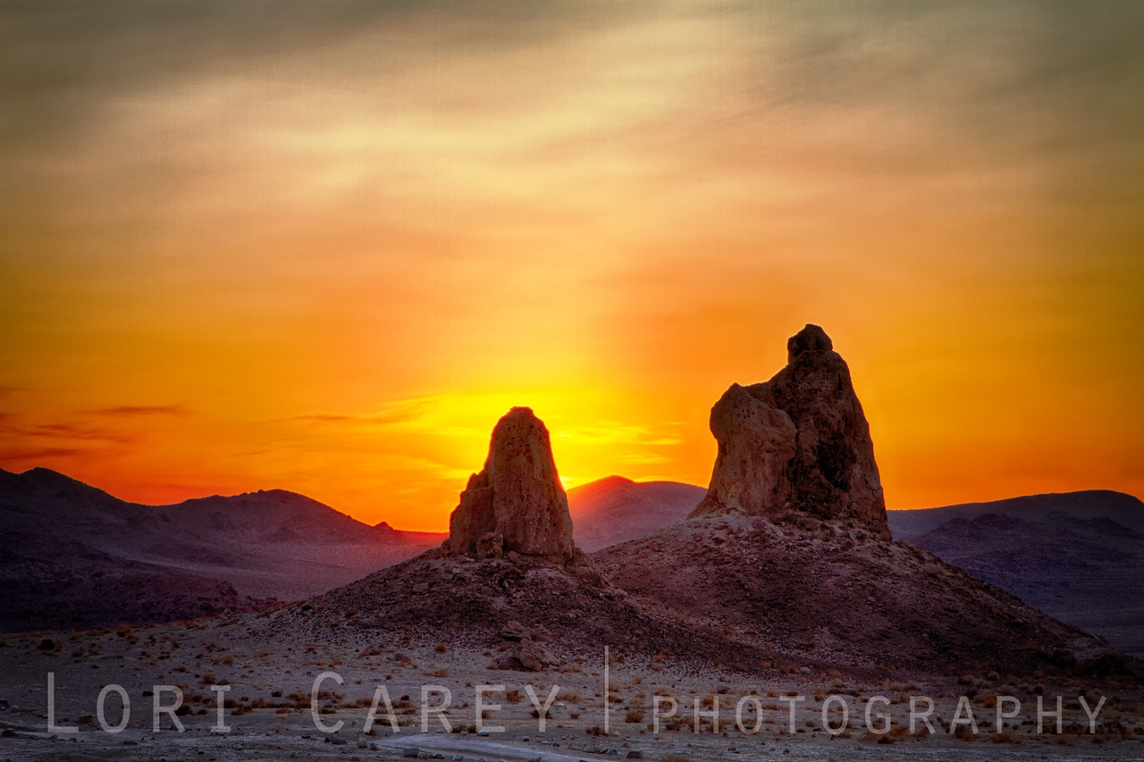 Trona Pinnacles backlit with setting sun