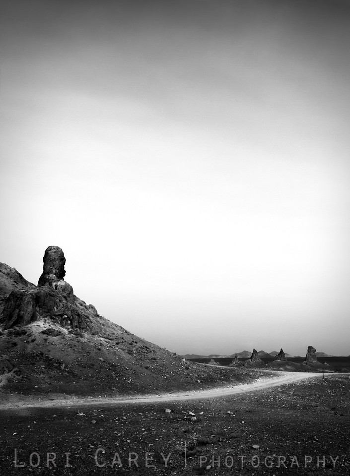 Trona Pinnacles in black and white