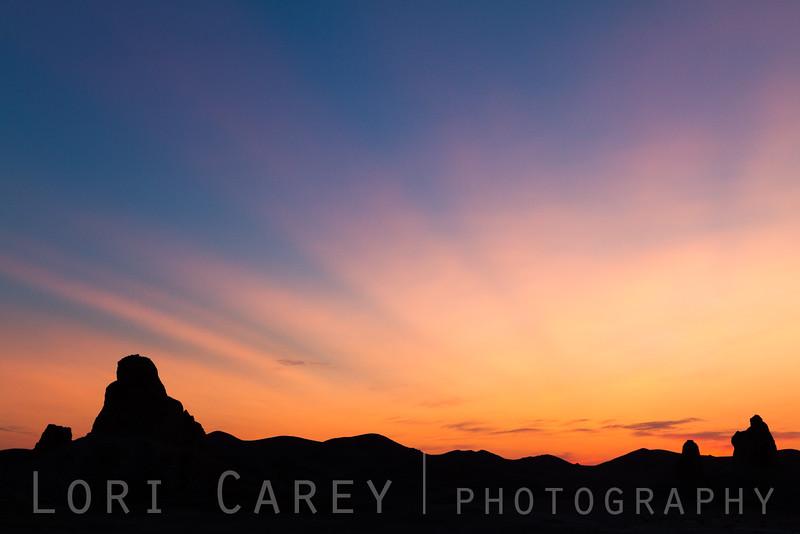 Sunset silhouette, Trona Pinnacles National Natural Landmark