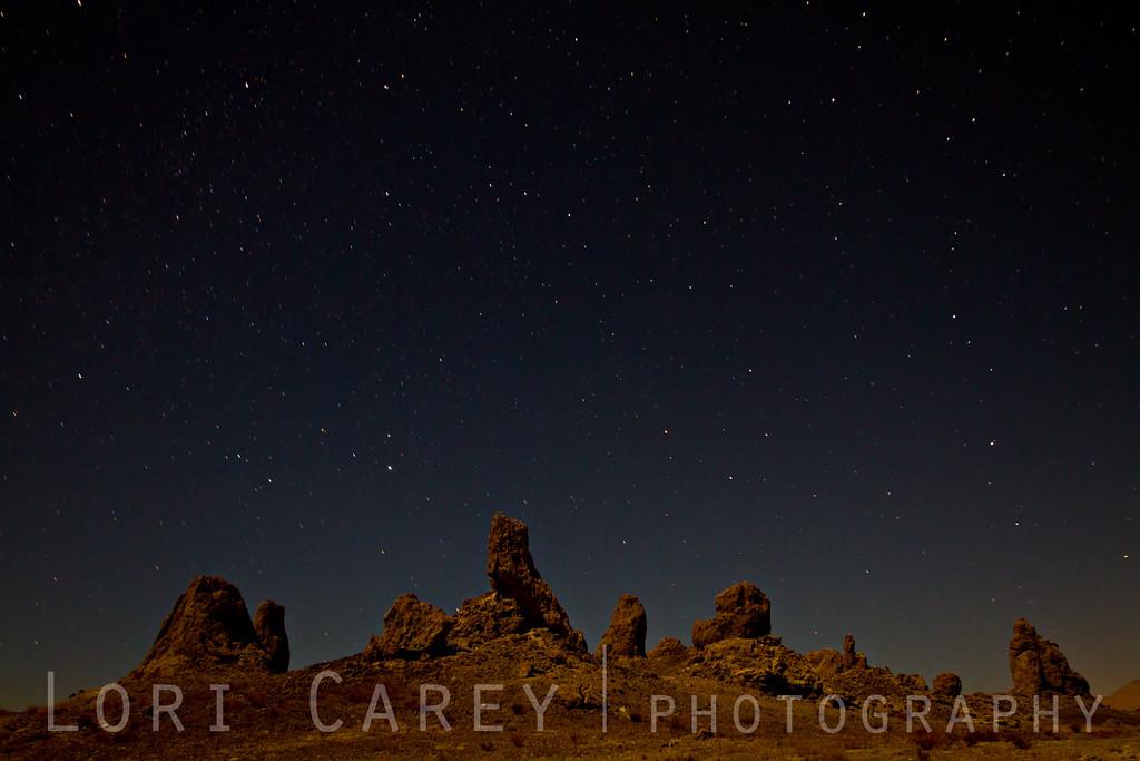 Trona Pinnacles at night.