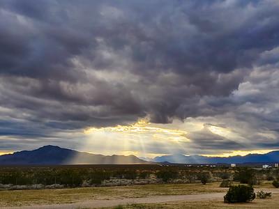 """""""God Rays"""" along I-40, in the Mojave desert."""