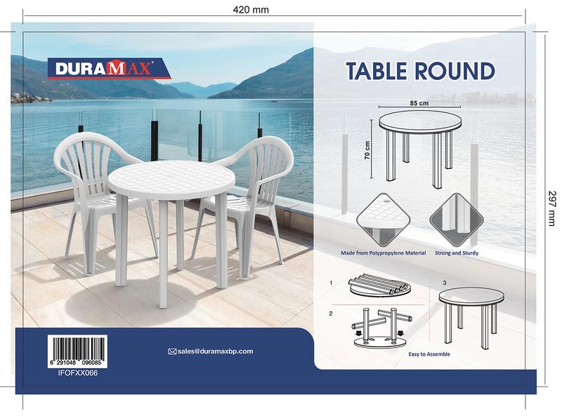 Final Cosmoplast Plastic Round Table 85 Duramax