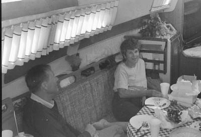 Sonny and Vada celibrating her 50th birthday, anchored at Santa Barbara Island, 1989