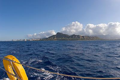 leaving Oahu, Diamond Head and Honolulu