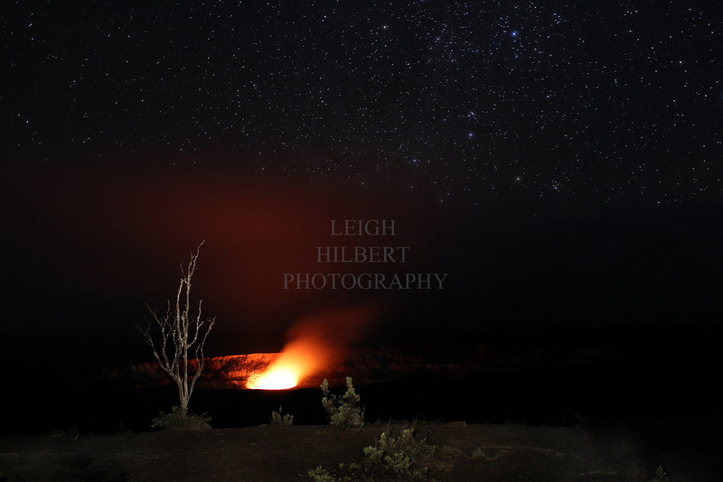 Halema`uma` Crater Pit Vent Glow with Stars - Valentines Night - February 14th, 2010 <br /> <br /> Jaggar Museum overlook balcony Hawaii Volcanoes National Park, Kilauea Volcano<br /> <br /> NOTE: This image will print dark as is, please contact me if you are considering purchasing it to discuss the limitations or brighter replacements.