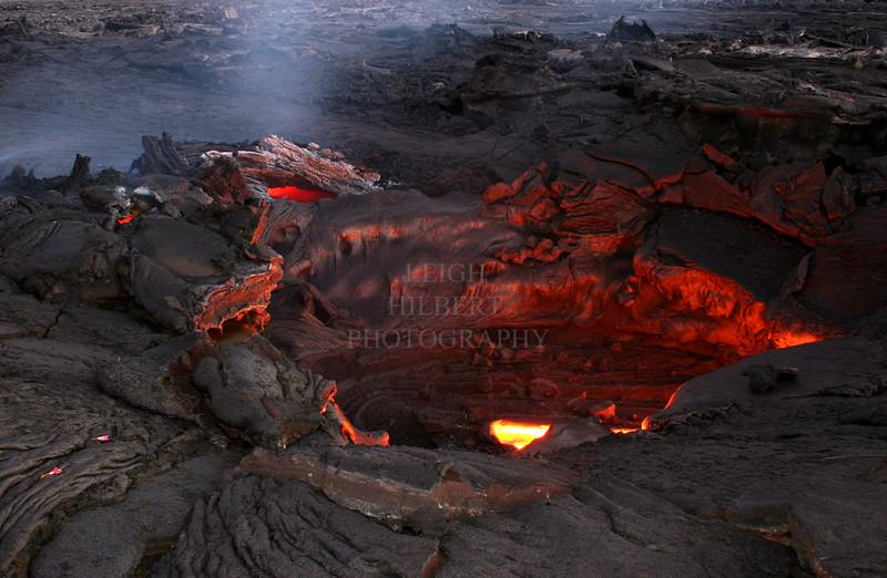 Lava tube skylight - a tiny peak into an infernal of liquid inner earth