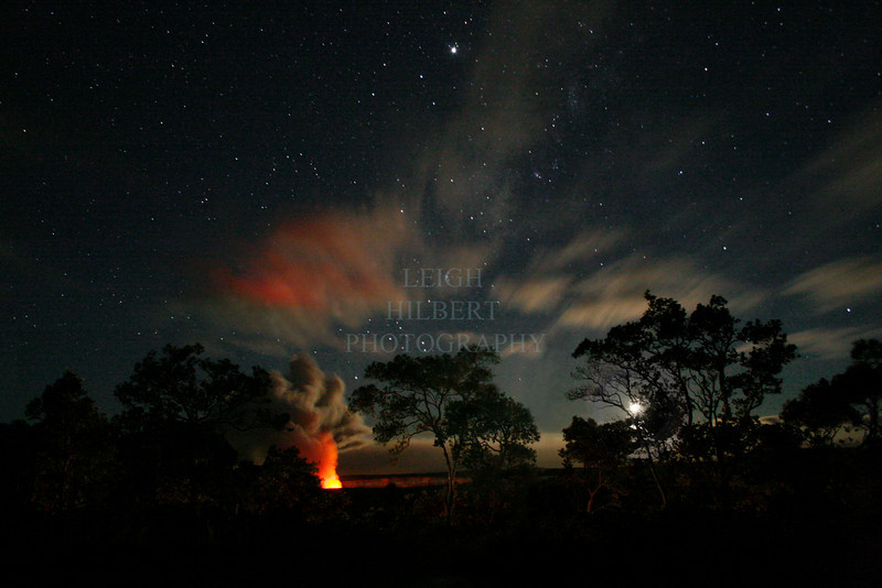 ~ Hale Nani o Pele ~ (Pele's beautiful home)<br /> <br /> Halema`uma`u crater lava glow under Jupiter, stars and a setting moon and through Ohia Lehua trees.... Hawaii Volcanoes National Park Island of Hawaii September 2008<br /> <br /> -prints well to 16x24-- beyond that works but becomes grainier -<br /> <br /> A special night this was!