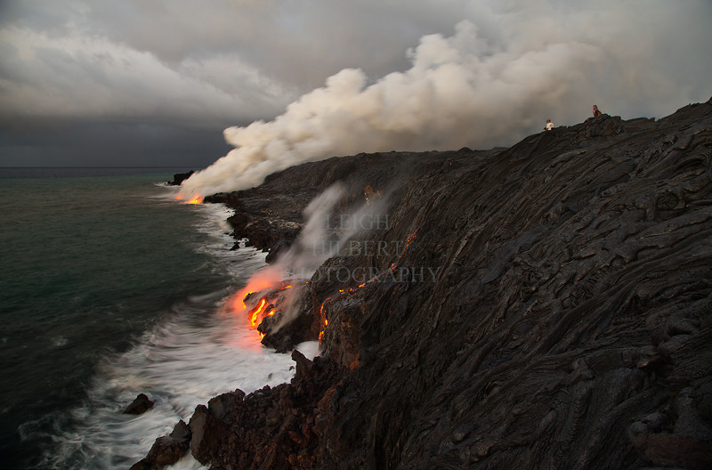 Ocean entry lava flow April 29th, 2013 - Nearly the last days that lava flowed from volcano to the ocean.