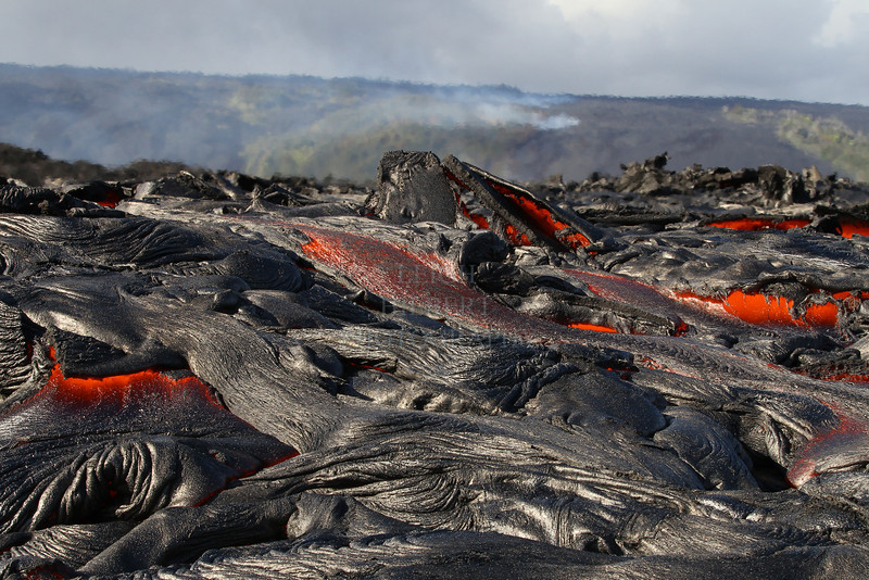 IMAGE # Royal Gardens_3264<br /> <br /> Royal Gardens is the area in the distance where the forests are burning as molten lava continues razing them.<br />  In the foreground pahoehoe lava flows close to the sea.