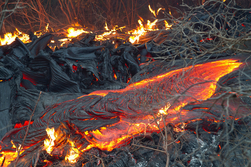 Lava moves through the forest only 500-feet from an occupied home in Royal Gardens subdivision, March 1st, 2012<br /> <br /> IMAGE# _LRH_0632