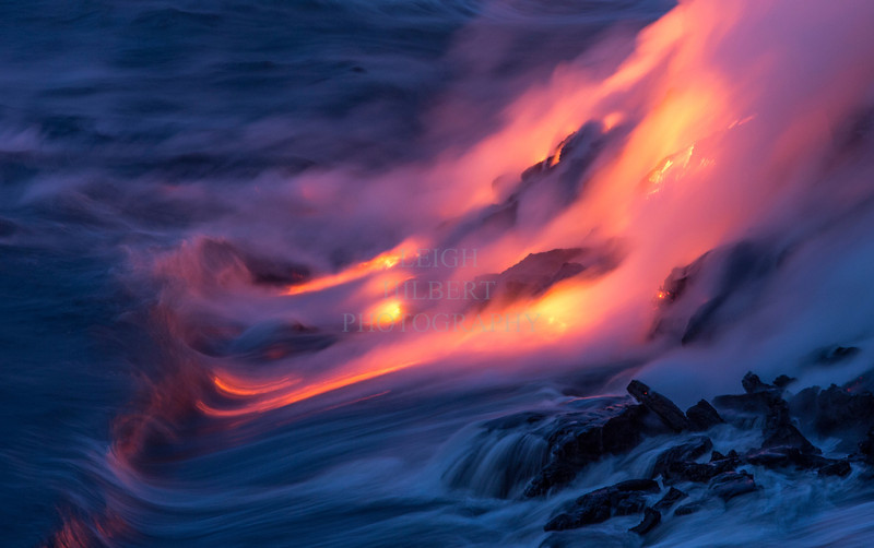 That magical pre-dawn light with lava and ocean makes for magically surreal images.<br /> <br /> Image # LRH_1813_D