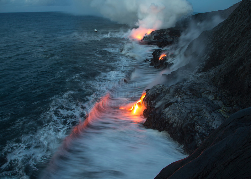Molten lava finding the ocean after a seven mile journey underground from the eruption site: the southeast flank of the Pu`u O`o carter - an offshoot of Kilauea Volcano<br /> <br /> Image #LRH_4029<br /> Date Taken:	2013-06-15 05:23:55<br /> Camera:	Canon EOS-1D X<br /> Exposure Time:	0.5s (1/2)<br /> Aperture:	f/6.3<br /> ISO:	320<br /> Focal Length:	24mm