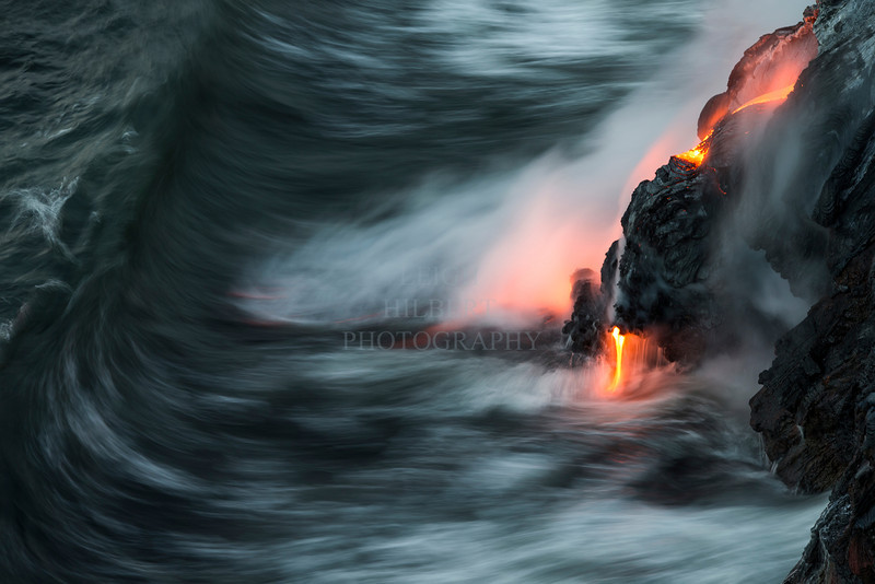 Molten lava meets the Pacific Ocean, Island of Hawaii<br /> <br /> Image #LRH_4088<br /> Date Taken:	2013-06-15 05:37:43<br /> Camera:	Canon EOS-1D X<br /> Exposure Time:	0.25s (1/4)<br /> Aperture:	f/8<br /> ISO:	100<br /> Focal Length:	148mm