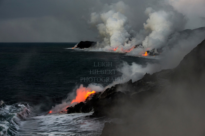 Early morning on a cloudy day <br /> <br /> Ocean entry lava 2.7 miles southwest of Kalapana; bordering Hawaii Volcanoes National Park March 2013<br /> <br /> IMAGE # LRH_0687_D  (Enlarges well to 40 X 60 -inches)