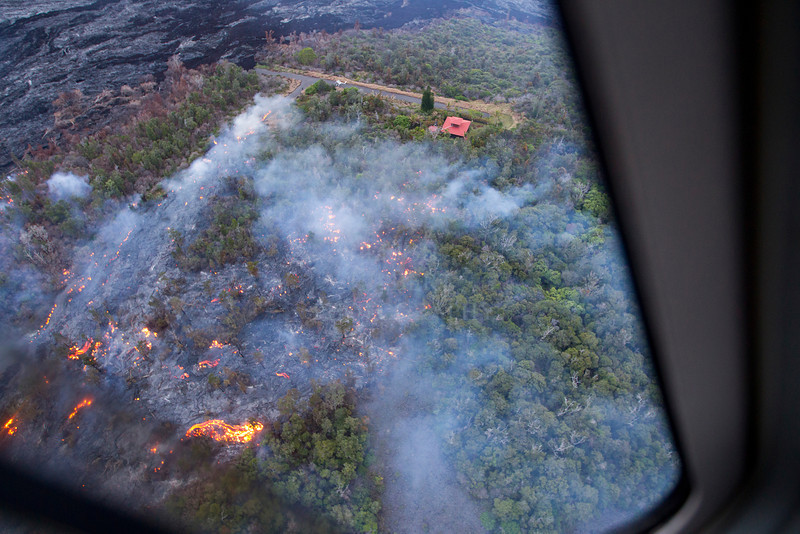 Jacks Lava House Aerial #3<br /> Another view of the lava advancing through the forest towards Jack's home<br /> <br /> IMG# LRH_0811