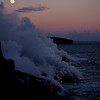 Winter Solstice Full Moon #1<br /> <br /> A gorgeous evening with the extra bright full moon and lava meeting the sea near twilight.<br /> Hawaii Volcanoes National Park Dec 22, 1999