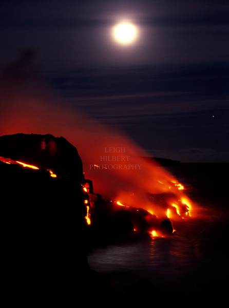 ~ Winter Solstice Full Moon Lava  #3 ~ (and Jupiter on the right)<br /> <br /> Southeast shores of the Island of Hawaii