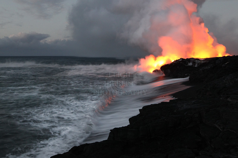 Lava entering the ocean August 30th, 2010<br /> <br /> Taken August 30th, near Kalapana, Island of Hawaii<br /> IMG# 6408