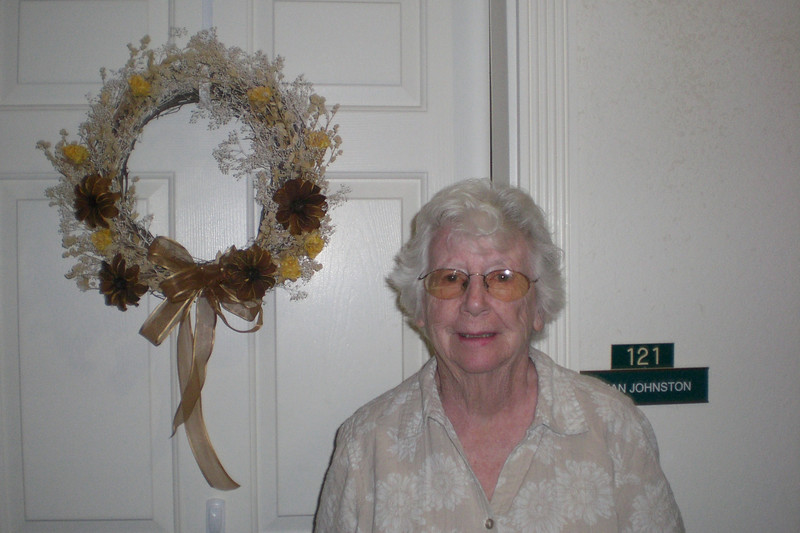 New wreath on Mom's door--with Mom :)