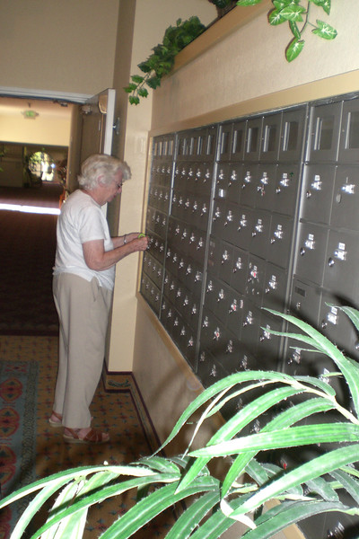 Mom at her mailbox