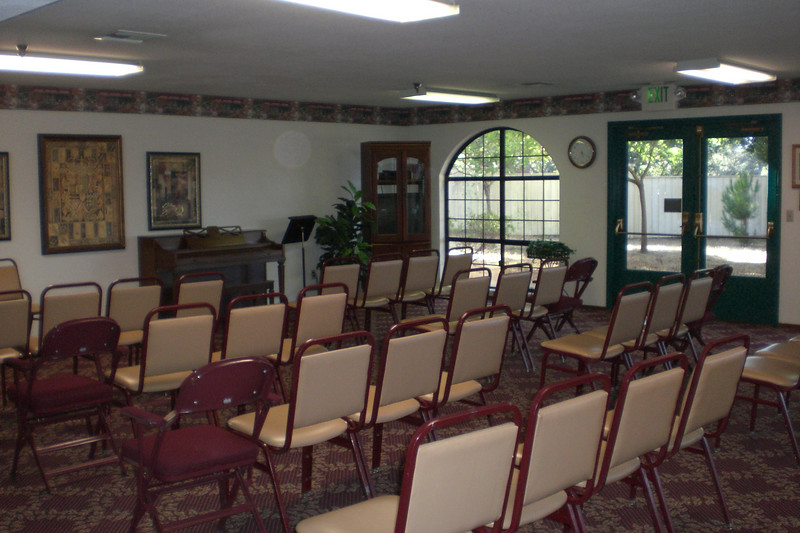 Activity room set up for Sunday services