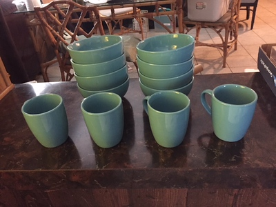 Blue Ceramic Cups and Saucers