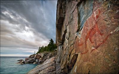 "Agawa Rock. Lake Superior Provincial Park, Ontario. First Place Winner in the Canadian Wildlife Photography of the Year Awards, ""between a rock and a hard place"" category."