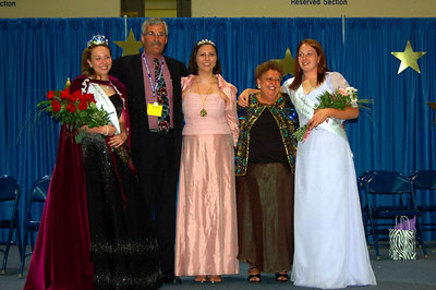 """The new """"Grand Family"""" immediately after the crowning of the new Miss Nebraska Job's Daughter and Miss Nebraska Congeniality. The Grand Family travel together for the year. (Left to right) Miss Nebraska Job's Daughter Eden, Associate Grand Guardian Ron, Grand Bethel Honored Queen Michelle, Grand Guardian Trudy, Miss Nebraska Congeniality Tori."""