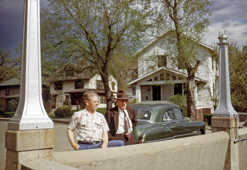 May 1950 - Max & Pop Lloyd at Lincoln Monument in Co. Bluffs