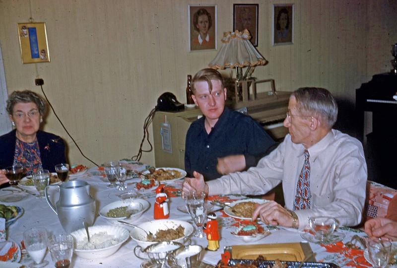12-25-49 ... Mom -  Max Eugene & Pop at Christmas dinner