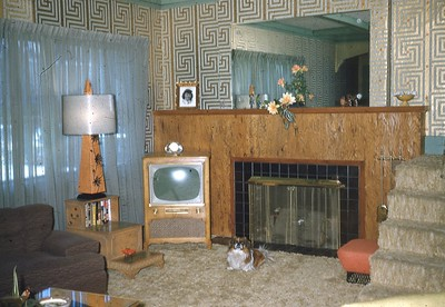 """1955 - """"After"""" - Our front room ... Pappy thinks it's his."""