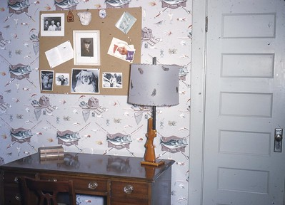 Steve's room ... note clever lamp with duck feathers on shade ... Dad's Marine photo ...