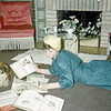 April 1950 - Elaine studying .... dog hams it up