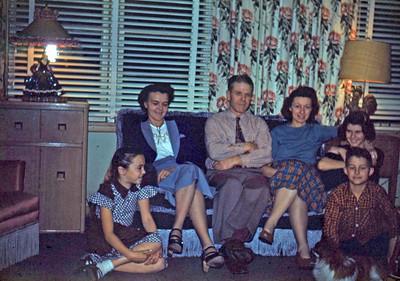 Nov 1949 - Barbara, Dorothy, Max, Lucile, Elaine & Steve  (and Pappy)