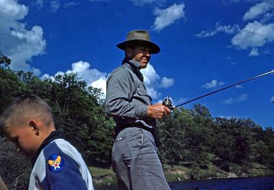 Steve & Max fishing in boat
