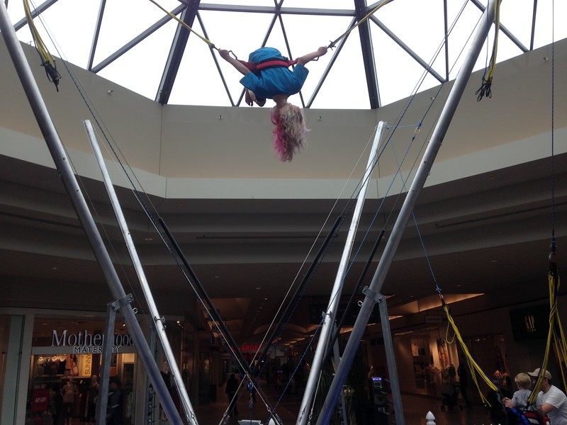 Bungee trampoline at the mall