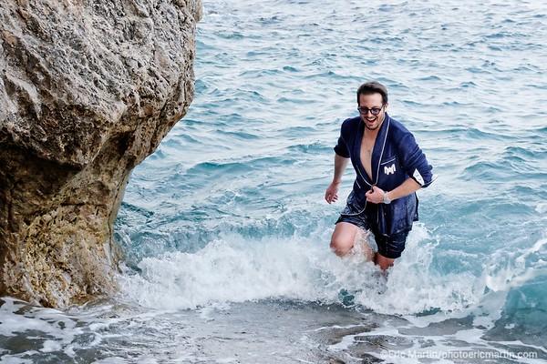 MONACO.Portrait de Federico Uribe, entrepreneur et fondateur de la marque de vêtements de plage de luxe 209 Mare. Il porte Ici un Beach Blazeur