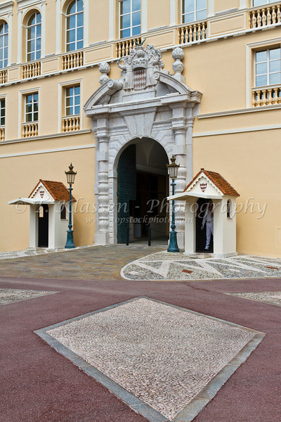 The Baroque front entrance to the Prince's Palace in the Principality of Monaco.