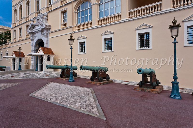 The historic Prince's Palace of Monaco with canon guns.