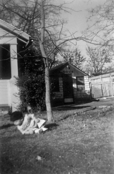 In background - The original Buddy's Minnow Shop at 3212 Milton, Dallas, Texas in the converted garage. Could that be Doug in the front yard practicing to be a gymnast !