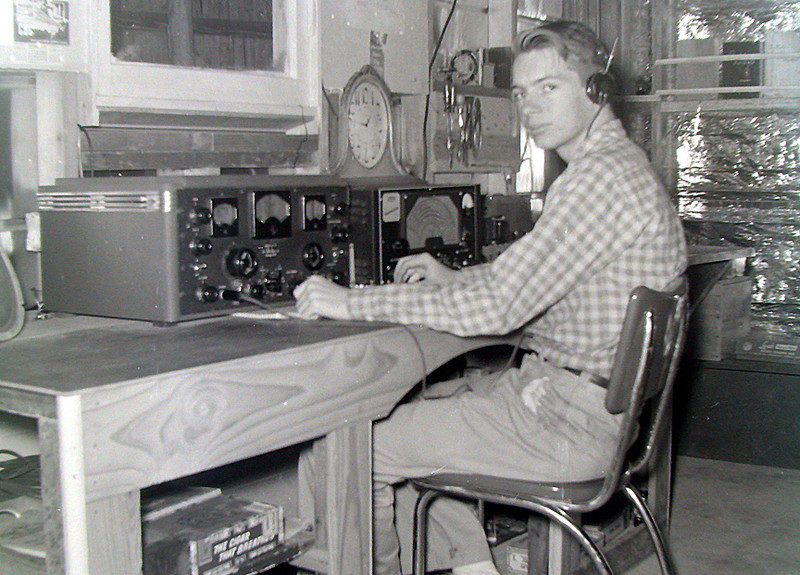 Dale, WN5HIS, 1954, Dallas, Texas. Dale got a general license within a few months and became W5HIS. After moving to K.C., Mo. he had to get a zero call, and became W0HSK. His rig: Hallicrafters SX-28 rcvr and a Lysco xmtr. The antenna for 40 meters was a surplus US Army vertical with the heavy vehicle mount/insulator, and a couple of radials. Worked all over the world on 40-meter cw.