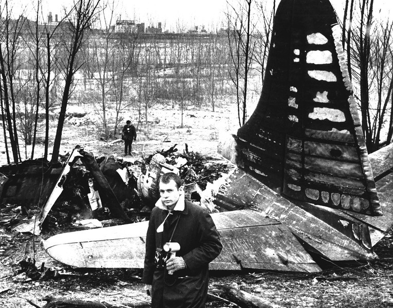Dale Monaghen covering a plane crash at the K.C. Municipal Airport, 1964.