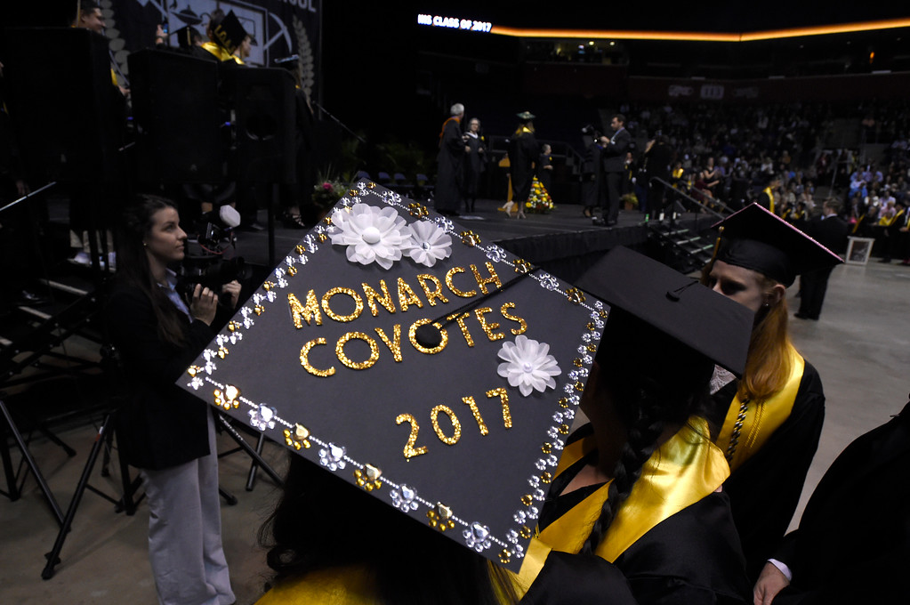 . Monarch High School\'s Madison Guidera wears her decorated cap during a graduation ceremony on Friday at the 1st Bank Center in Broomfield. For more photos of Monarch High School graduation go to www.dailycamera.com Jeremy Papasso/ Staff Photographer/ May 19, 2017