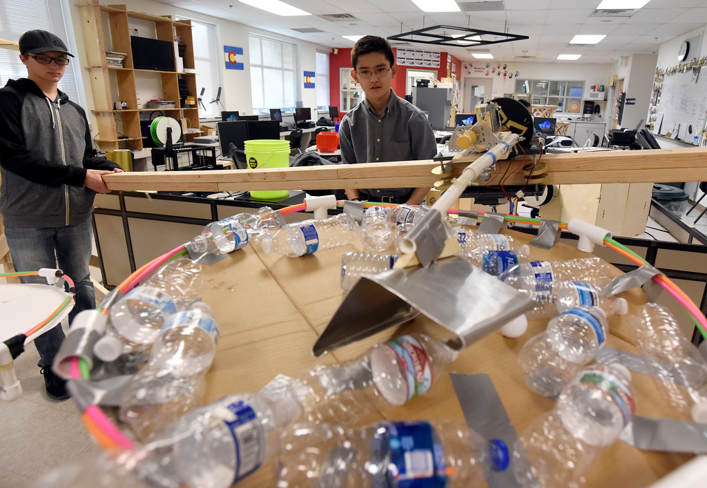 . LOUISVILLE, CO - NOVEMBER 27, 2018: Monarch High School\'s Corbin Estes, left, and Matthew Berg while test and demonstrate their robots on Tuesday at Monarch High School in Louisville. For more photos of the robotics team in action go to dailycamera.com (Photo by Jeremy Papasso/Staff Photographer)
