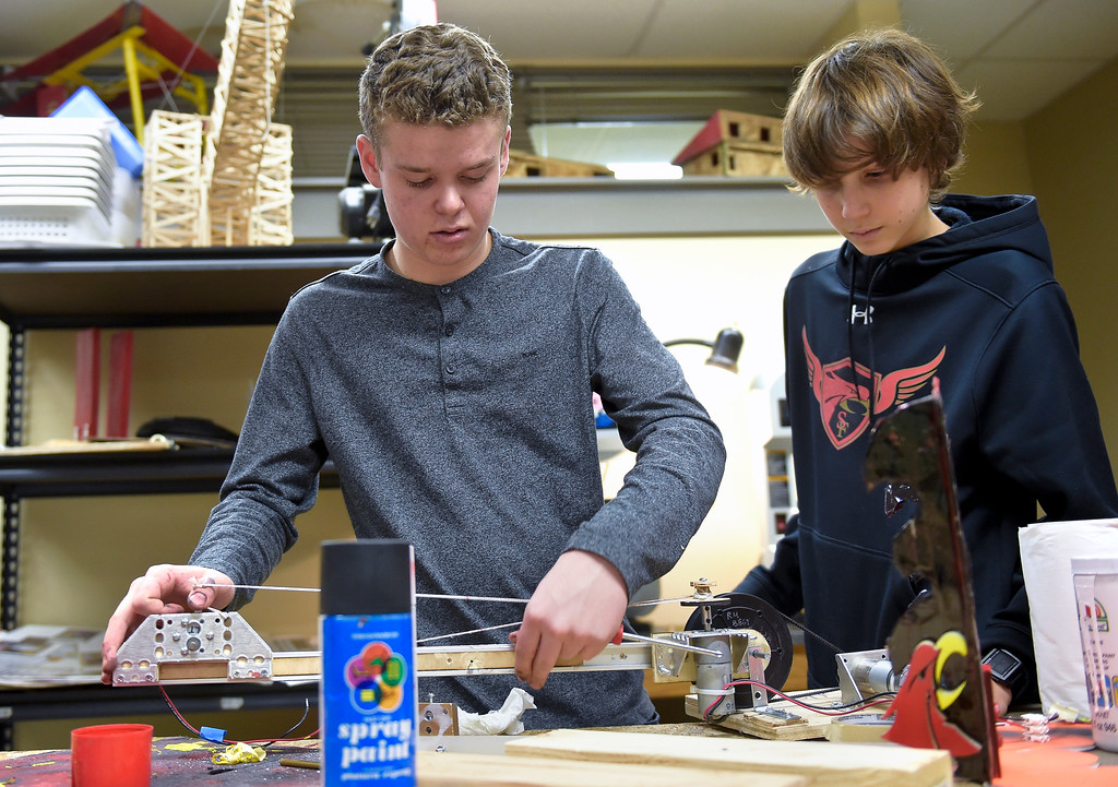 . LONGMONT, CO - NOVEMBER 29: Sophomore Connor Kelso, left, and freshman Ryan Messinger work on a robot in the robotics room at Skyline HIgh School Nov. 29, 2018. The Skyline robotics team will be going to regionals in Denver. (Photo by Lewis Geyer/Staff Photographer)  ***Connor Kelso, Ryan Messinger CQ***